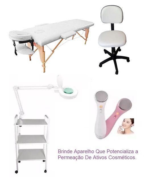 Kit Estética Maca Portátil Madeira,Carrinho,Lupa com Luminária,Mocho e Brinde
