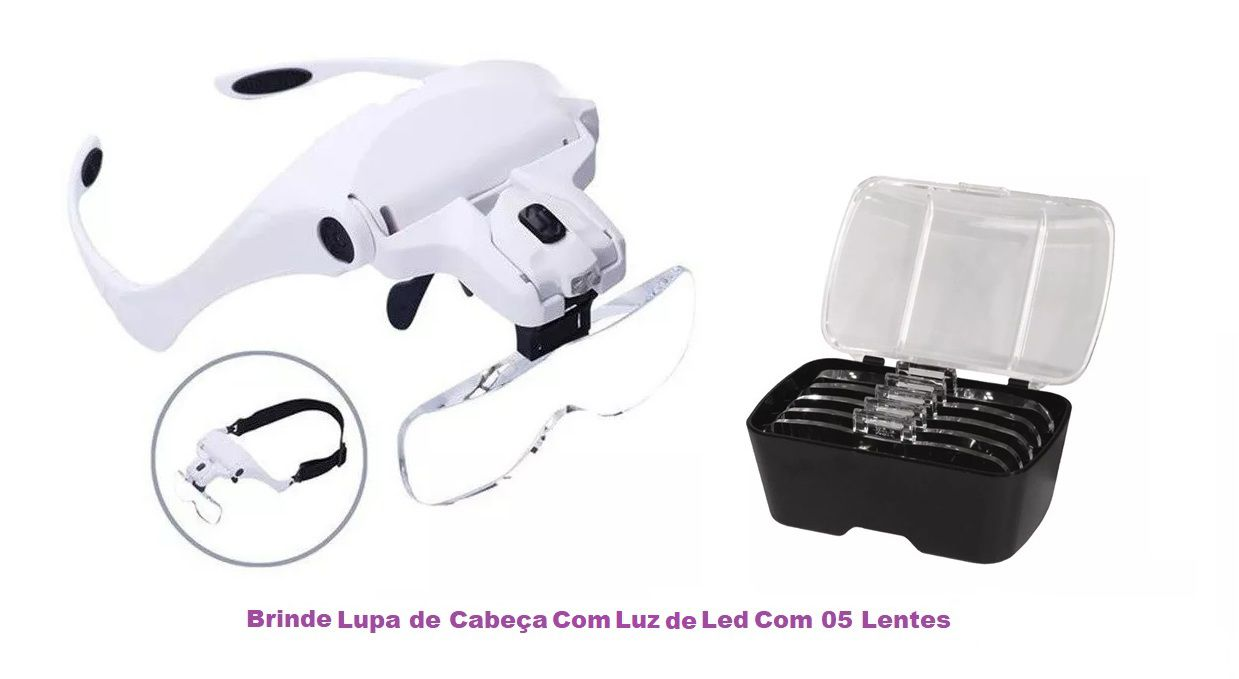Kit Maca Elétrica De Tatuador Carrinho Mocho Foco E Brinde Lupa Cabeça Fiscomed