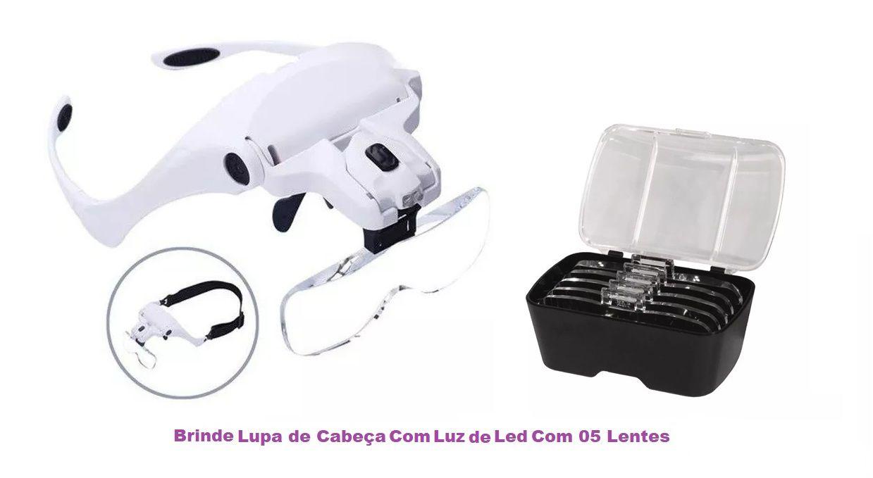 Kit Maca Para Micropigmentação Armário Mocho Lupa E Brinde Lupa Cabeça Fiscomed