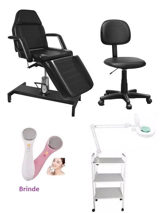 Kit Micropigmentação Cadeira Hidráulica,Mocho,Carrinho Auxiliar,Luminária com Lupa Brinde Aparelho Derma Spa Micro