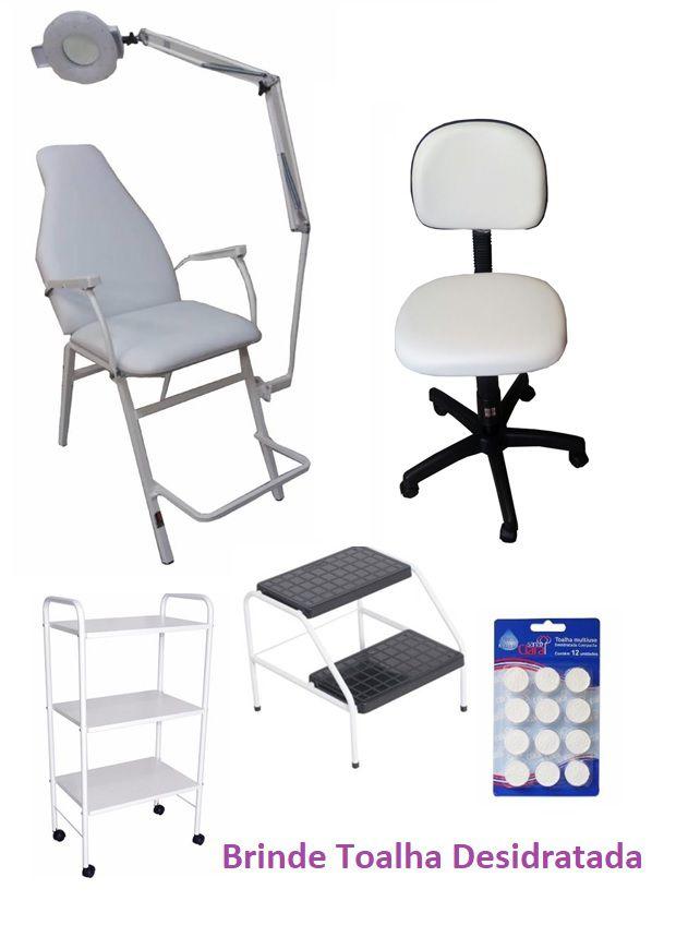 Kit Para Micropigmentação e Estética Poltrona, Mocho,Carrinho,Lupa,Escada Brinde Toalha Desidratada