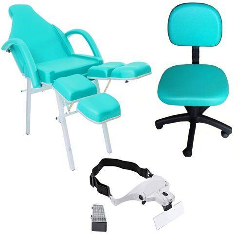 Kit Para Podologia Básico Cadeira Stylo Mocho à Gás Brinde Lupa de Cabeça
