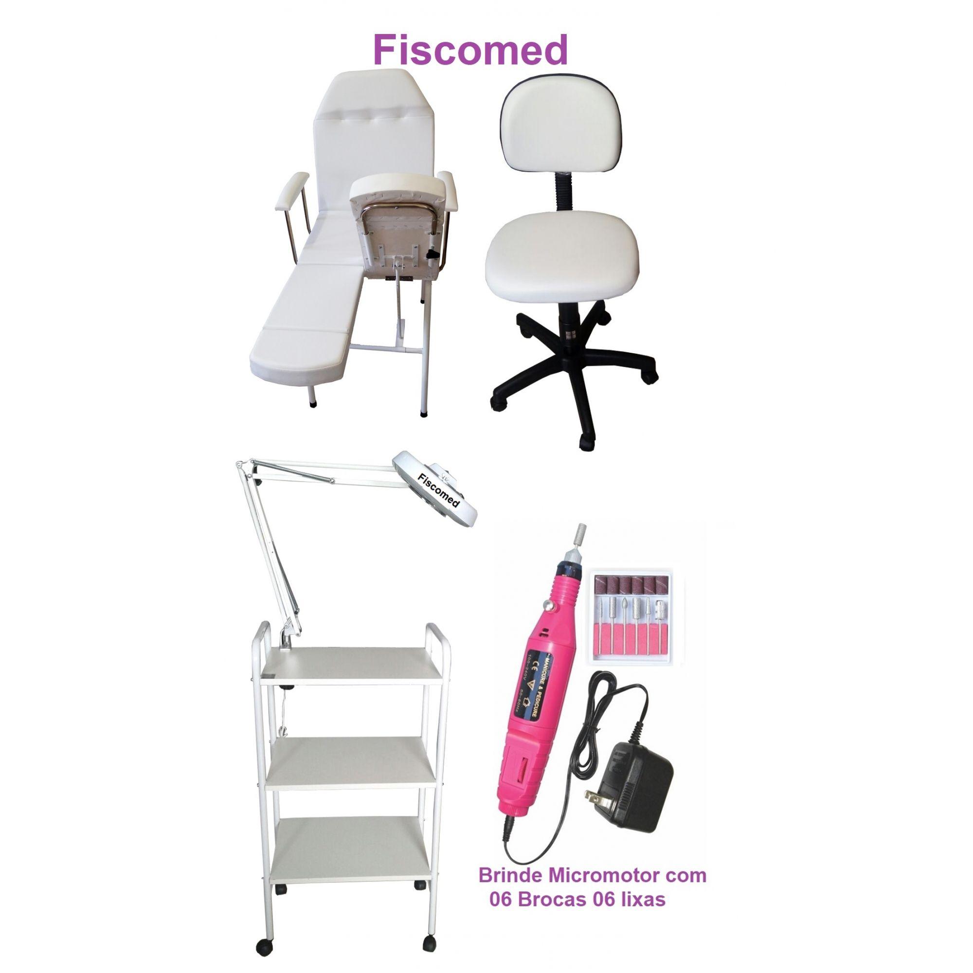 Kit Para Podologia Cadeira, Luminária com Exaustor, Carrinho e Mocho Brinde Micromotor