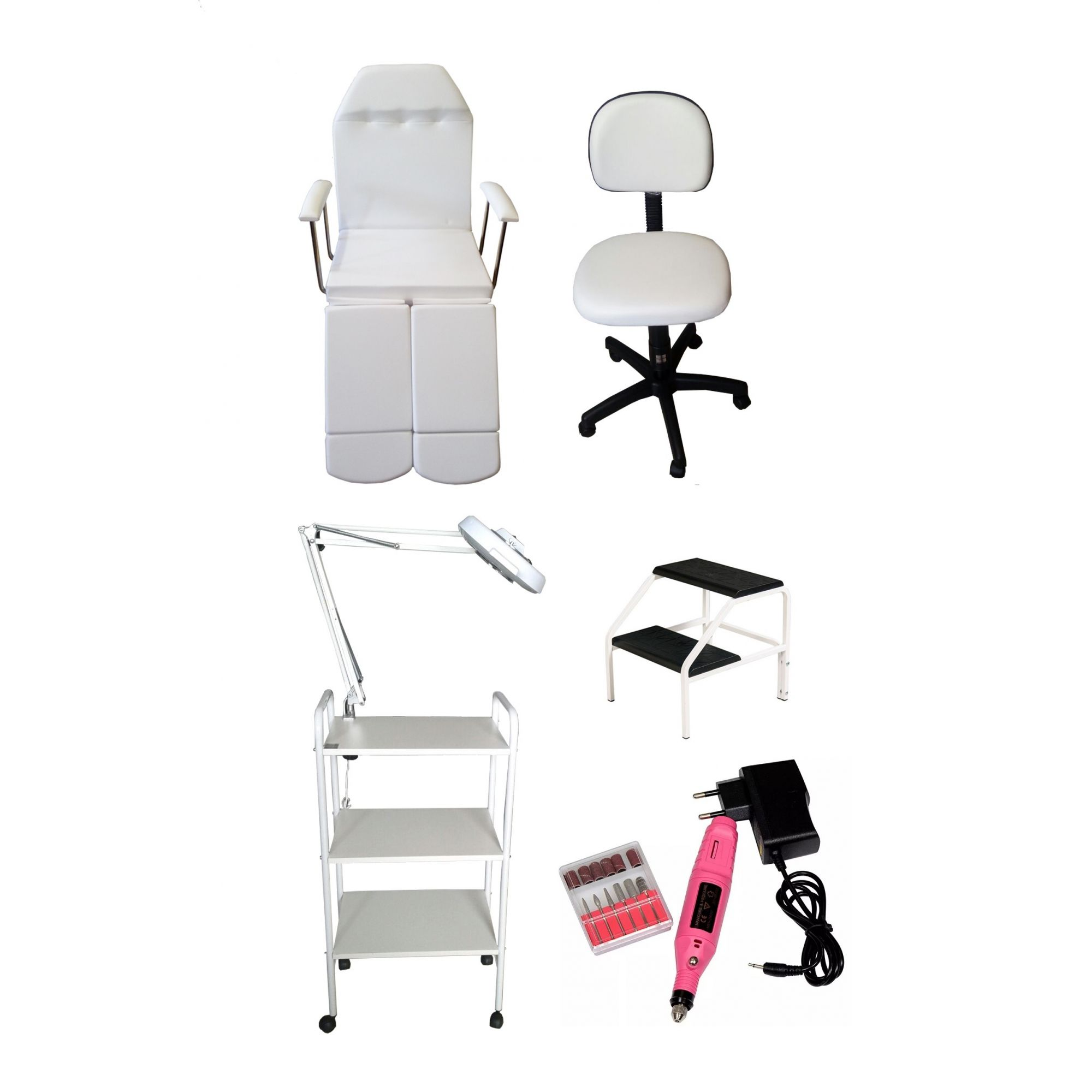 Kit Para Podologia Cadeira, Luminária com Exaustor, Escada,Carrinho e Mocho Brinde Micromotor