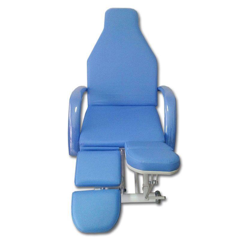 Kit Podologia Azul Cadeira  Semi-Elétrica Com Bandejas Exaustor e Mocho Brinde Lupa Led