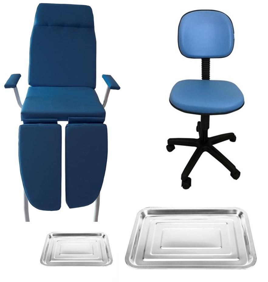 Kit Podologia Básico Poltrona e Mocho Azul
