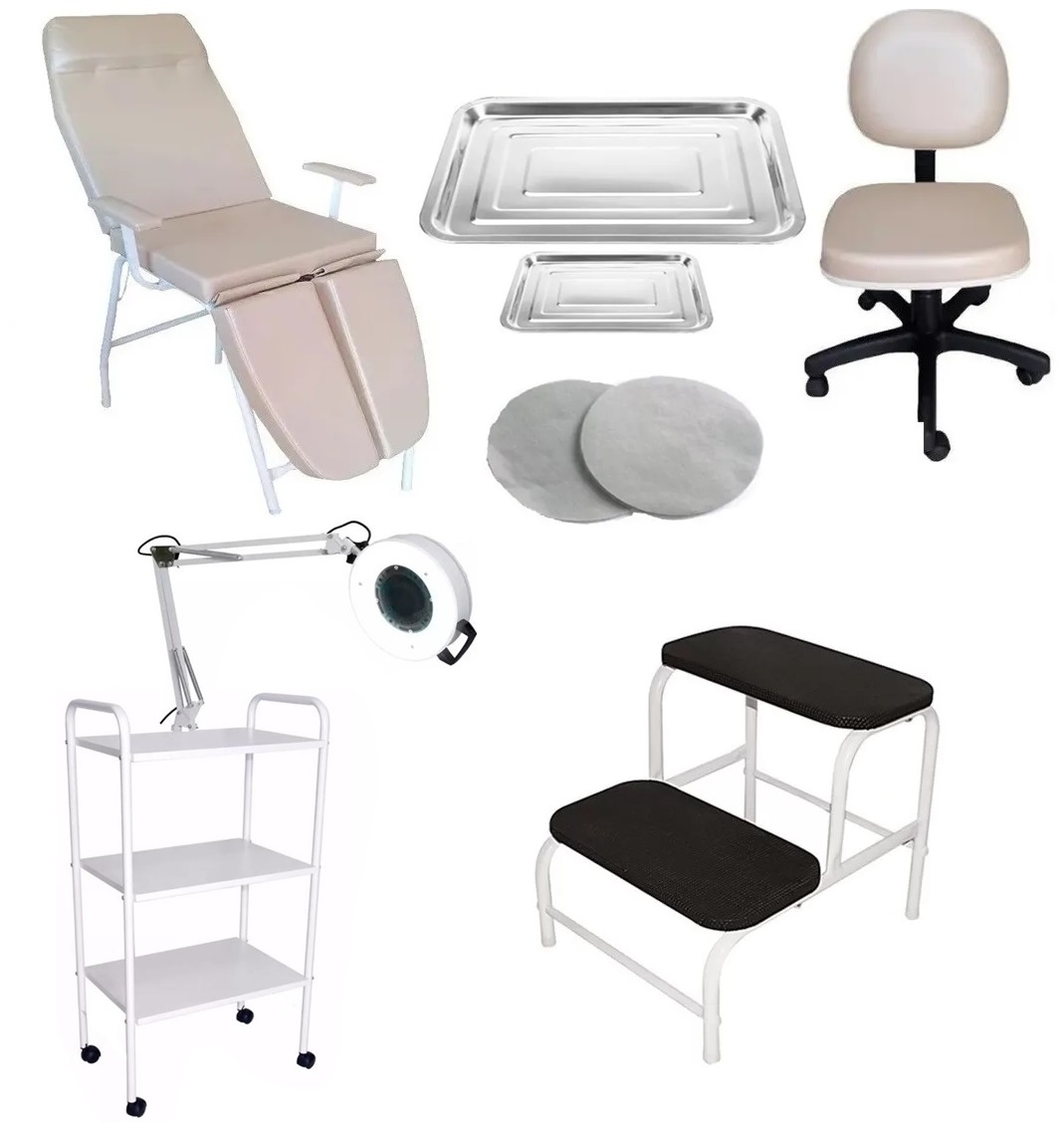 Kit Podologia Bege Cadeira, Mocho, Carrinho, Exaustor, Escada E Brinde