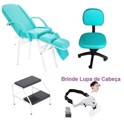 Kit Podologia Cadeira Mecânica Mocho  Escada 02 Degraus Brinde Lupa de Cabeça