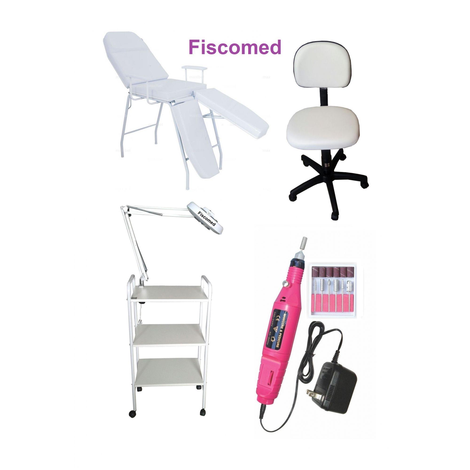 Kit Podologia Cadeira Mocho Luminária com Exaustor Carrinho Brinde Lixa Elétrica