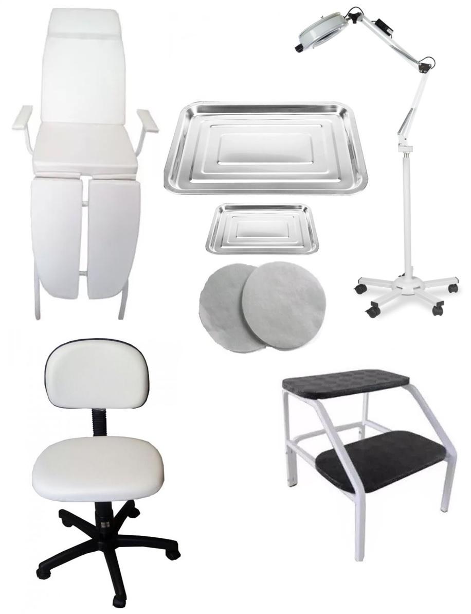 Kit Podologia Cadeira Mocho Luminária com Exaustor Tripé Brindes