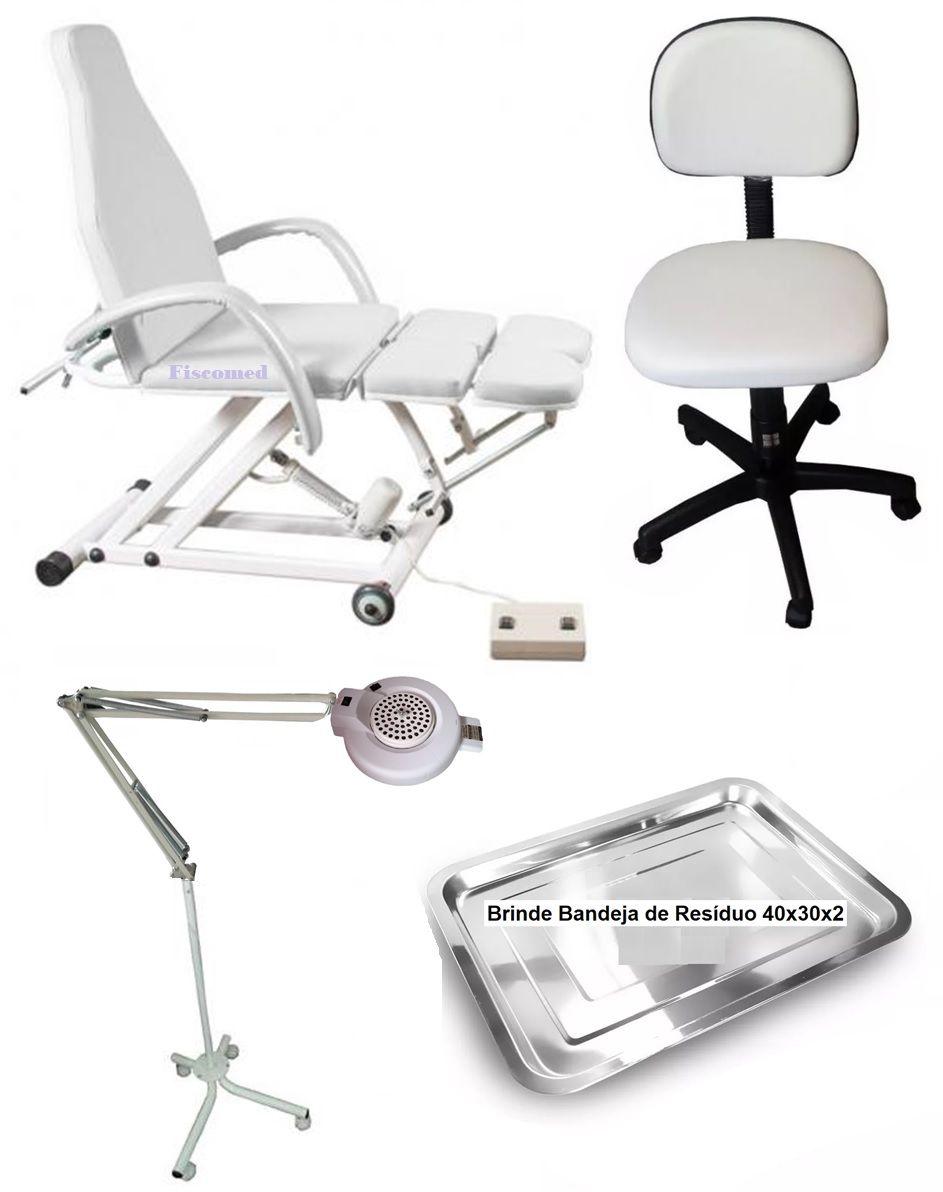 Kit Podologia Cadeira Poltrona Para  Mocho e Luminária Do Exaustor E Brinde