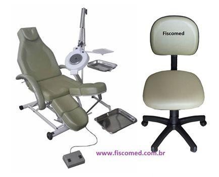 Kit Podologia Cadeira Semi Elétrica Com Exaustor Mocho e Suportes para Bandejas