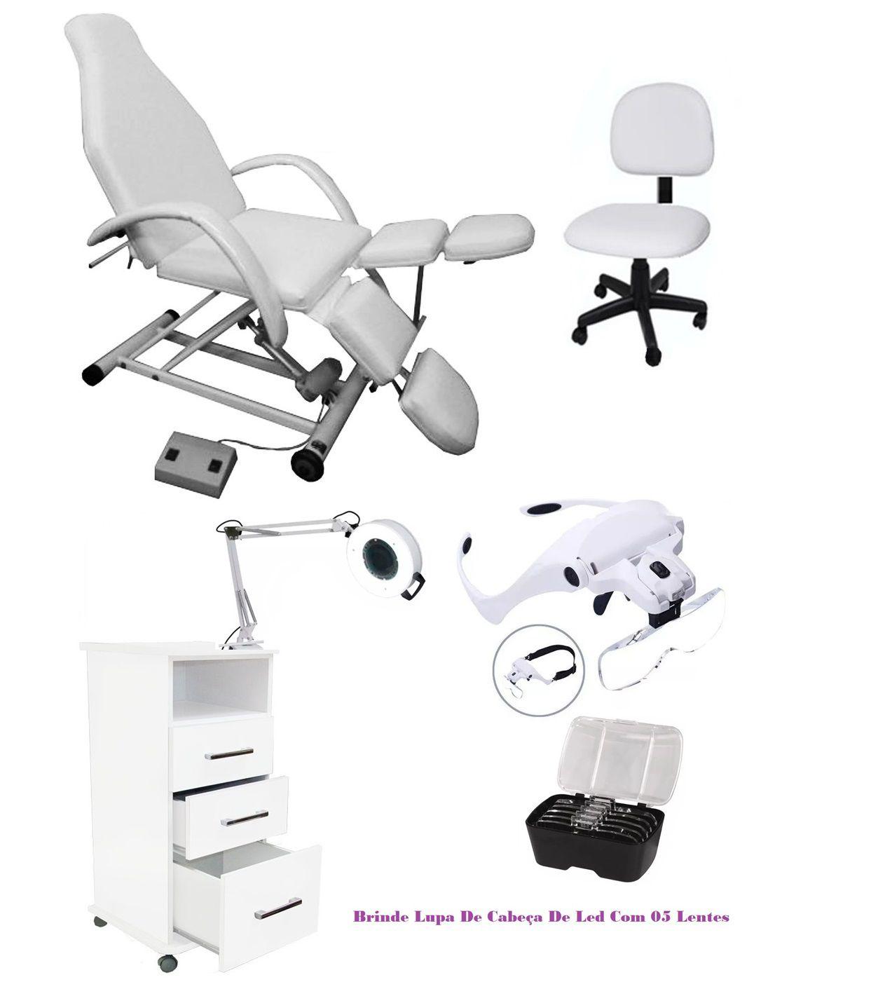 Kit Podologia Cadeira Semi Elétrica Mocho Exaustor Carrinho Brinde Lupa