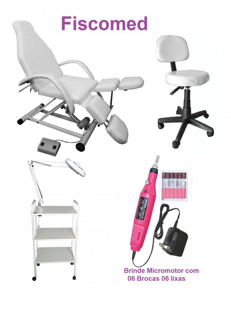 Kit Podologia Cadeira Semi-Elétrica, Mocho, Exaustor, Carrinho Brinde Micromotor