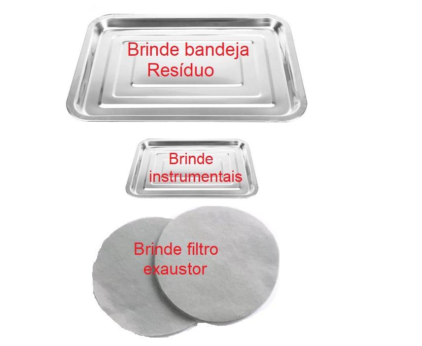 Kit Podologia Rosa  Cadeira Mecânica Mocho à Gás Carrinho Exaustor com Luminária Brindes