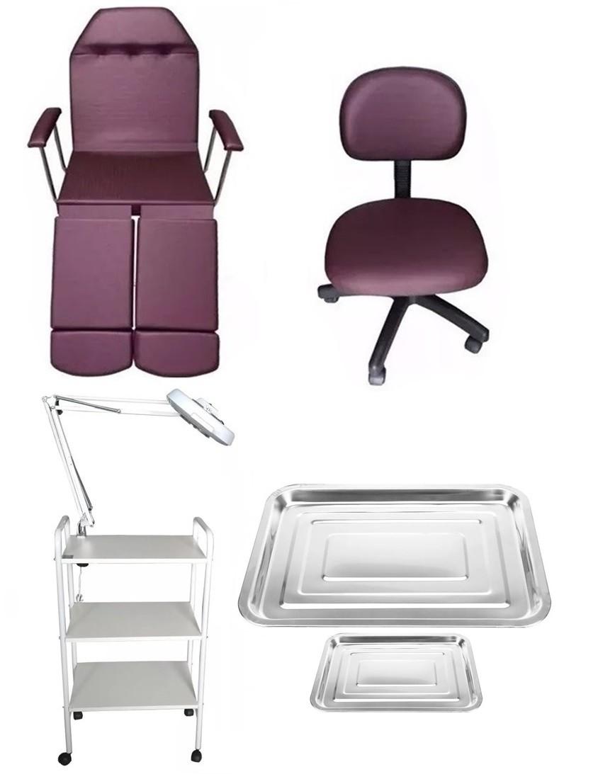 Kit Vinho Para Podologia Cadeira, Luminária com Exaustor , Carrinho e Mocho Brinde Bandejas