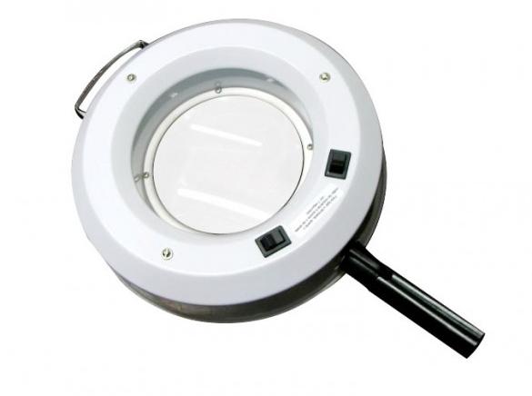 Lupa de mão com lâmpada circular de wood