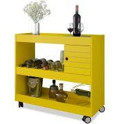 Aparador Bar Cristal Amarelo Brilho com Rodízios Móveis Bechara