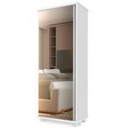 Armário Multiuso Londres 1 Porta com Espelho Branco Luapa