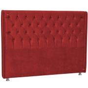 Cabeceira Casal Estofada Firenze 140 cm Veludo Vermelho