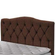 Cabeceira Luxury Queen 160 cm Linho Marrom Escuro Simbal