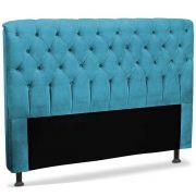Cabeceira Queen Estofada Paris 160 cm Azul Velur JS Móveis