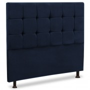 Cabeceira Queen Estofada Sleep 160 cm Azul Luxor