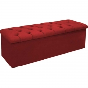 Calçadeira com Baú Estofada Lotus 160 cm Veludo Vermelho