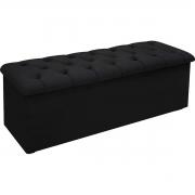 Calçadeira com Baú Estofada Lotus 90 cm Suede Negro Simbal