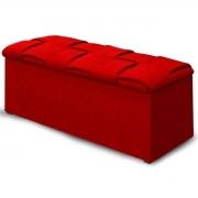 Calçadeira com Baú Estofada Ravena 140 cm Linho Vermelho
