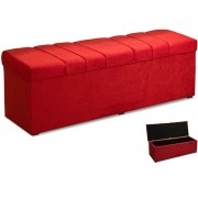 Calçadeira com Baú Estofada Roma 195 cm Amassado Vermelho