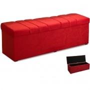 Calçadeira com Baú Estofada Roma 90 cm Amassado Vermelho