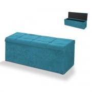 Calçadeira com Baú Estofada Veneza 90 cm Azul Velur