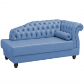 Chaise Estofada Vega Perfan Sintético Metalizado Azul
