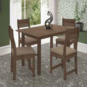 Conjunto de Mesa 4 Cadeiras Dallas Indekes Assento Noce Bege