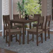 Conjunto de Mesa 6 Cadeiras Dallas Indekés Assento Noce Bege