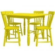 Conjunto Mesa e 4 Cadeiras Cristal Torneada MDF Amarelo