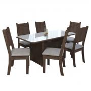 Conjunto Mesa New Charm Com 6 Cadeiras 1,50 Noce/Off White