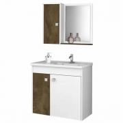 Conjunto para Banheiro Munique Branco/Madeira Rústica