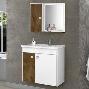 Conjunto para Banheiro Munique Branco/Madeira Rústica Bechara