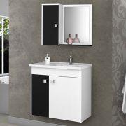 Conjunto para Banheiro Munique Branco/Preto Bechara