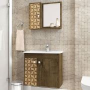 Conjunto para Banheiro Munique Madeira Rústica 3D Bechara