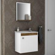 Conjunto para Banheiro Siena Branco Madeira Rústica Bechara