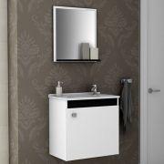 Conjunto para Banheiro Siena Branco Preto Bechara Móveis