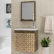 Conjunto para Banheiro Siena Madeira Rústica 3D Bechara