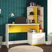 Escrivaninha Estante e 2 Gavetas Poli Branco/Amarelo Poliman