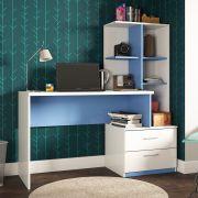 Escrivaninha Estante e 2 Gavetas Poli Branco/Azul Poliman