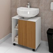Gabinete para Banheiro Pequin Branco Ripado Bechara