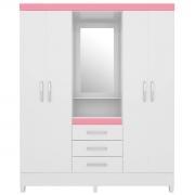 Guarda-Roupa Capelinha Pérsia 4 Portas Branco/Rosa Flex