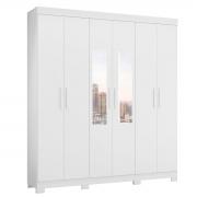 Guarda-Roupa com Espelho Casal Amarok 6 Portas Branco Fosco